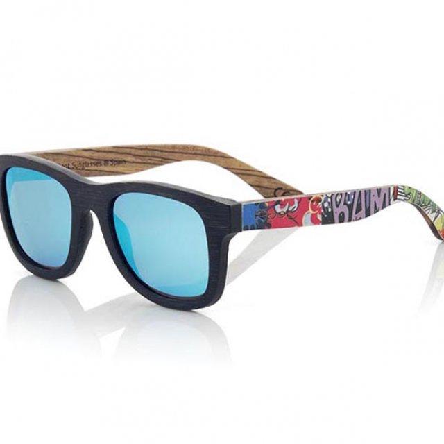 3720dc7f0e Gafas de sol de madera de bambú estampado cómic - Greens a Million